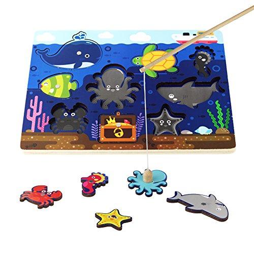 Akokie Jeu de jonc de Poisson en Bois magnétique Jeu de pôle de pêche en Bois Jigsaw Puzzle en Bois avec 9 Animaux Marins pour Enfants 3 4 5 Ans