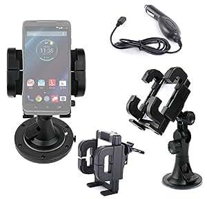 """Support voiture pour smartphone Motorola Droid Turbo (écran 5,2"""") - grille d'aération, pare-brise & tableau de bord - Chargeur allume-cigare BONUS"""