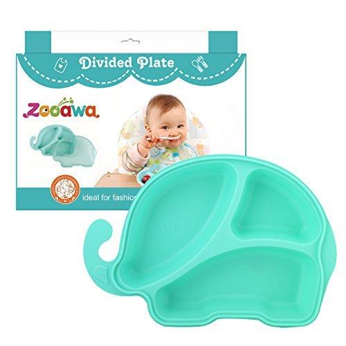 Zooawa Baby Teller mit Deckel, rutschfest Kinder Tischset Geschirr schüssel schale Schälchen Platzmatte Platzteller Esslernteller für über 12 Monate Kleinkinder, BPA-Frei, Blau Elefant