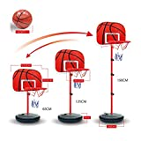 Finer Shop Kinder Basketball-Sport tragbare Kunststoff-Rückenbrett Basketball Stand 4-Section höhenverstellbar mit Inflator für Kinder 630-1500mm