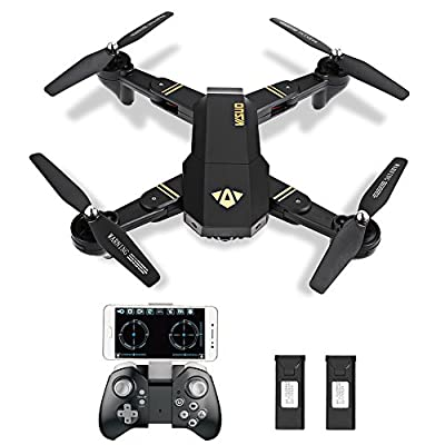 Kingtoys 8807W WIFI FPV RC Drone Quadcopter Foldable Drones with 720P HD Camera Live Video APP Control Drone 2.4GHz 4CH 6-Axis Gyro Remote Control Camera Drone with Altitude Hold, Gravity Sensor and Headless Mode Function from Haibei