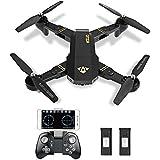 Kingtoys XS809W Drone Quadcopter RC avec Caméra 0.3MP WiFi, Pliable Drone 2.4G 4Ch 6-Axis FPV Drone Le Mode sans Tête,Altitude Hold par APP et la Télécommande + une Batterie Supplémentaire