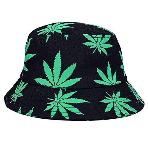 Sombrero-de-cubo-plegable-Sunhat-Bonnie-Caps-Sombreros-de-verano-de-LUOEM-para-mujer-y-hombre-Green-Maple-Leaves