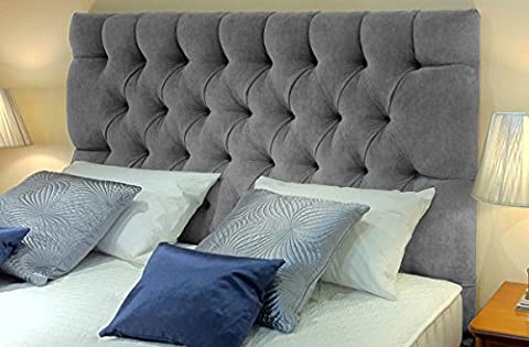 KingMakers Premium 5FT Kingsize Tufted Chester Chenille Deep Matching Buttons Headboards Padded Classic Home Bedroom - Silver Grey - Height 26