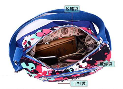 Tiny Chou borsa a tracolla per ragazze, colori a contrasto, impermeabile in nylon (Multicolore)