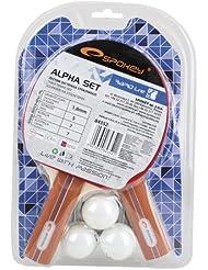 Raqueta de tenis de mesa Alpha Set (2x, 3x Ball, 1x Red)