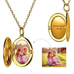 Custom4U Damen Kette mit Gravur | Stainless Steel | Silber Gold| Halskette mit Vual Anhänger| Gravur auf Vorder- & Rückseite | Personalisierte Geschenke