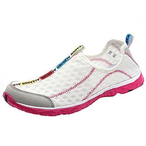Aleader Women's Mesh Slip On Water Shoes White 9 D(M) US