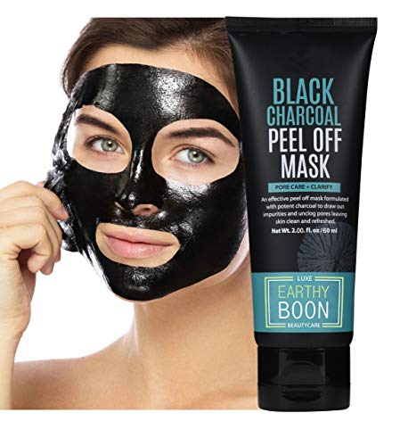 EARTHYBOON Charcoal Peel Off Face Mask, 60 ml - Deep Cleansing Facial Mask for Face & Nose