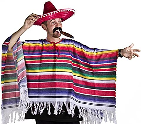 Ilovefancydress Poncho mexicain avec sombrero moustache et cigare costume pour homme et femme Tailles S à
