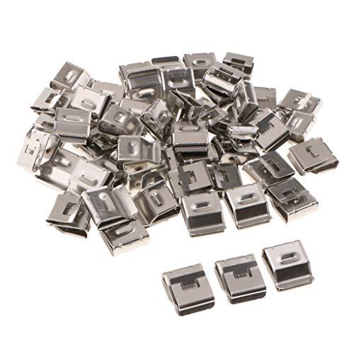 Preisvergleich Produktbild F Fityle 50 Stücke Solar Photovoltaik Edelstahl Kabelklammer Klemme Doppelkompression