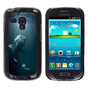 Rubber Gehäuse Hülle Schutz Case Cover Zubehör BY RAYDREAMMM - Samsung Galaxy S3 MINI NOT REGULAR! I8190 I8190N - Fish Blue Nature Dive Monster