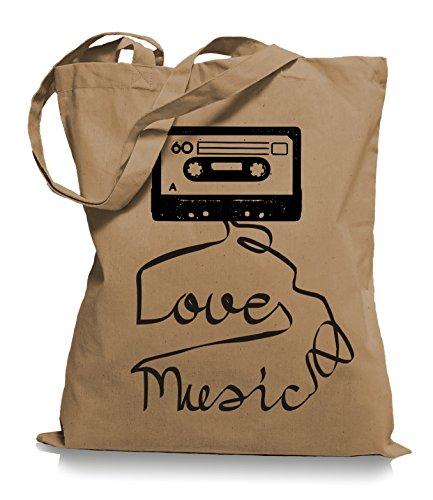 Ma2ca® Loves Music - Jutebeutel Stoffbeutel Tragetasche / Bag WM101 Caramell
