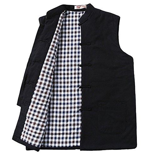 Zooboo Winter Jacke Herren Beheizte Weste–Chinesisch Kragen Baumwolle Weste Tang Zhuang (Coat für Frauen und Jungen, schwarz