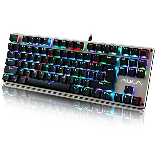 Aula RGB Mechanical Gaming Tastatur LED-Regenbogen Hintergrundbeleuchtung mit Blau Schaltern (Grau/Schwarz)