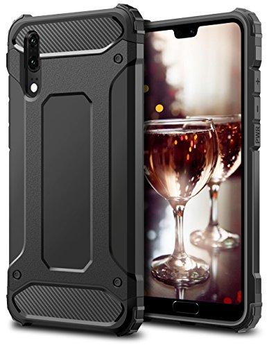 Huawei P20 Hülle, Coolden Premium [Armor Serie] Outdoor Stoßfest Handyhülle Silikon TPU + PC Bumper Cover Doppelschichter Schutz Hülle für Huawei P20 (Schwarz)