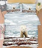 3D Gletscher Eisbär Natur 583 Bettzeug Kissenbezüge steppen Bettdecke Decken Set Single Königin König |3D Foto Bettzeug, AJ WALLPAPER Kyra (Single)