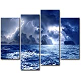 Canvas Print Wall Art Picture Sea Before Storm Dark Clouds Surging Wave With Lighting 4 Pieces Modern Giclee Stretched And Framed Artwork The Seascape Pictures Photo Prints On Canvas