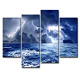 Wall art print auf Leinwand Bild Meer vor Sturm dunkle Wolken Brandung mit Blitz 4Moderne Stücke Giclée-gespannt und gerahmt Kunstwerke Meereslandschaft Bilder Fotodrucke auf Leinwand