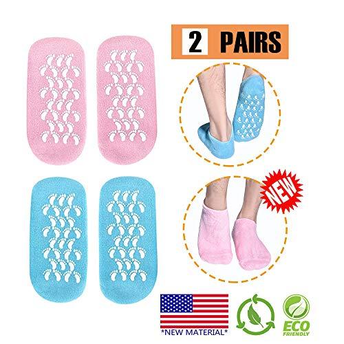 Calcetines hidratantes, 2 pares Medias de gel Calcetines suaves de gel hidratante, Medias de gel de spa Para reparar y suavizar pieles de pies agrietados secos, Noche de día Care Skin(AZUL y ROSA)