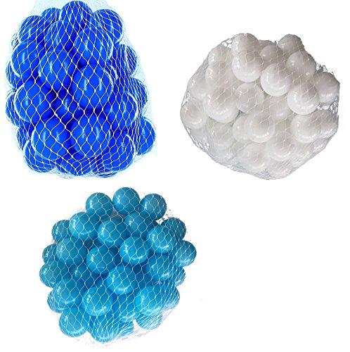 300 Bälle für Bällebad gemischt mix mit türkis, weiß und blau