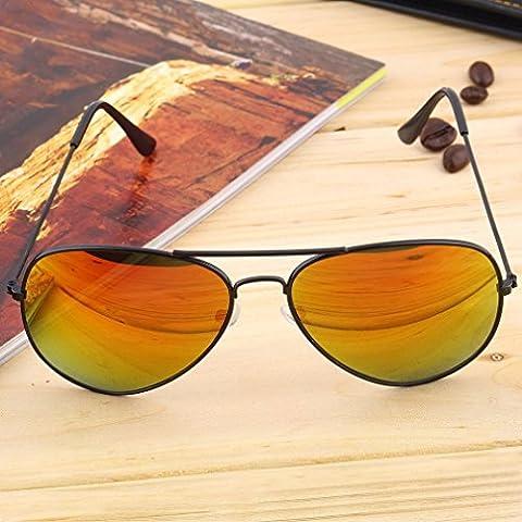 Marco negro + rojo plata lente unisex mujeres hombres vintage retro Fashion espejo lente gafas de sol gafas gafas de fo mundo ojo
