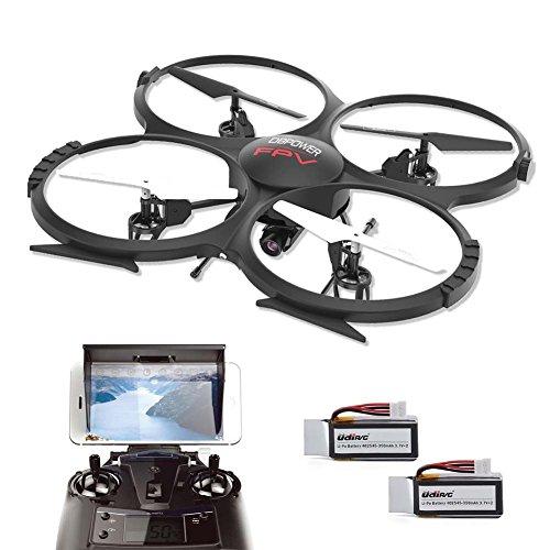 UDI U818A Verbesserte WIFI FPV Drohne mit 2MP HD Kamera APP Steuern RC Quadrocopter Kopflosmodus Drone mit 2 Batterien und 4GB TF...
