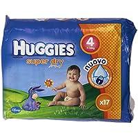 Huggies–Super Dry, couches avec système blocage fuites, Taille 4de 7à 14kg–17couches