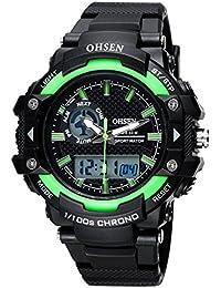 OHSEN Reloj Hombre Mujer Multifunción Cronómetro Impermeable Digital De Moda De Deportivo Con Calendario Alarma - Verde