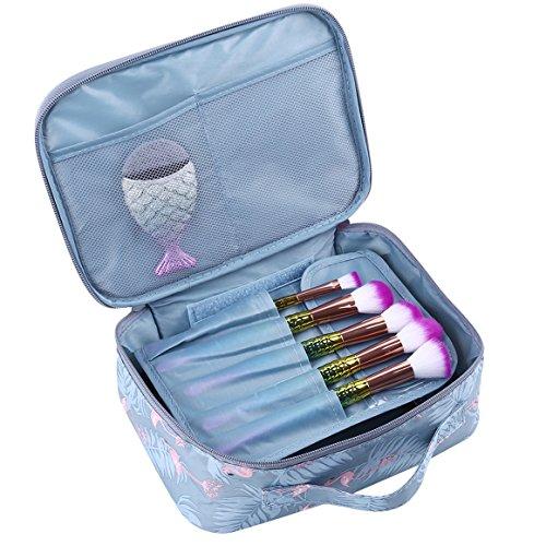 ODN Kulturbeutel Damen Kosmetiktasche Wasserdicht Waschtasche Makeup Handtasche für Reise, Outdoor und Camping (Grauer Flamingo) (Lv Handtaschen Für Den Mann)