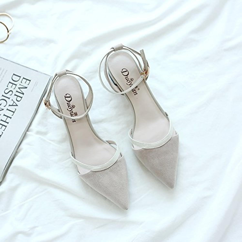 3efe5d7718e8 SHOESHAOGE One Word Buckle Autumn With Women S Baotou Shoes Sandals Season  Autumn Heels Heel Coarse Heel Pointed Shoes Women S Shoes B0753LWDNN Parent  ...