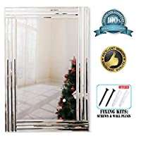 RICHTOP Wall Mirror Triple Bevelled Edges Rectangle Large Silver Wall Mounted Mirror For Living Room, Hallway,Office(90X60CM)