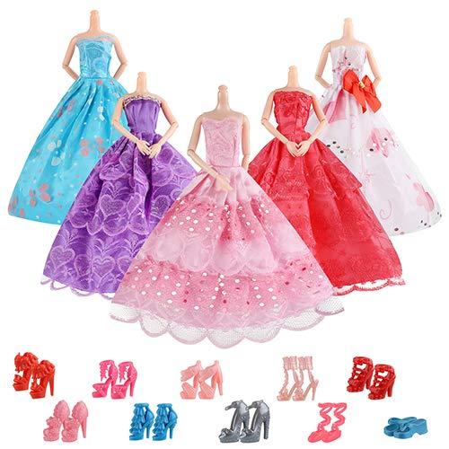 Aitefeir 16 articoli inclusi 5 pezzi abbigliamento casual moda, 1 abito da sposa con 10 paia di scarpe per barbie doll christmas xmas gif