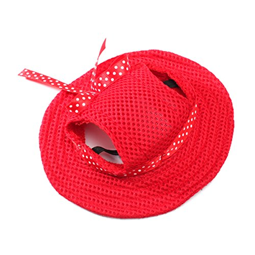 Hund Hüte, Sommer Hunde Baseball Sport Hüte, Sonne Kappe Visiere für Kleine Hund und Mittlere Hunde - Größe M (Rot) ()