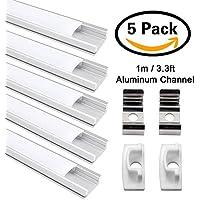 Perfil de Aluminio, Jirvyuk 5 Pack 1 m/3,3 ft Perfil de Aluminio LED para Luces de Tira del LED con Cubierta Blanca Lechosa, Los Casquillos de Extremo y los Clips de Montaje del Metal-Plata (Plata-02)