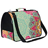 LKZNT Pet Carrier Dog Cage Floral Bohemia Style Portable Travel Cat Puppy Rabbit Bag Net Breathable Handbag with Non-slip Pad