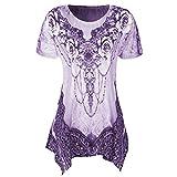 VJGOAL Damen T-Shirt, Damen Mode Scoop Neck Plissee Große Code Kurzarm Sommer Bluse Top Tunika T-Shirt (2XL/46, Rosen-Violett)