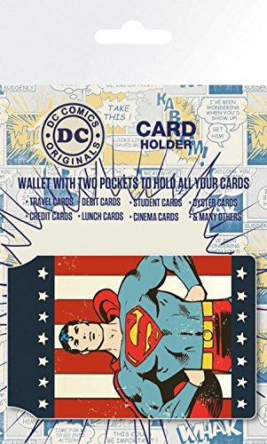 1art1® Set: Superman, Retro Superman, DC Comics Porte-Carte Bancaire pour Fans (10x7 cm) + 1x Sticker Surprise