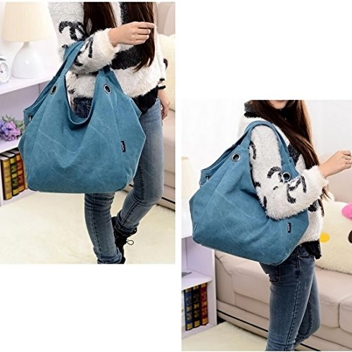 ITechor - Borsetta donna di grande capacità, tela colore puro; borsone, a tracolla, borsetta., Coffee blu