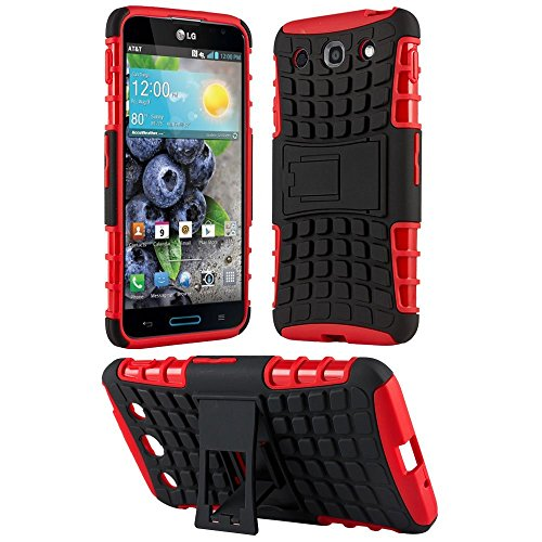 Heartly Flip Kick Stand Hard Dual Armor Hybrid Rugged Bumper Back Case Cover For LG Optimus G Pro F240 E985 E988 - Hot Red  available at amazon for Rs.319