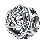 CHANGEABLE Charms et Perles Femme Argent 925 Cristal (Serpentine Ouverte)