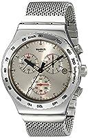 Swatch YVS405G - Reloj cronógrafo de cuarzo para hombre con correa de acero inoxidable, color plateado de Swatch