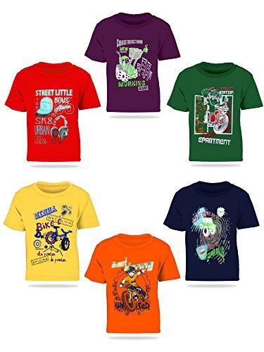 Kiddeo Kids Boy Tshirts(Pack of 6)-6C-Tshirts-03-ML-7-8