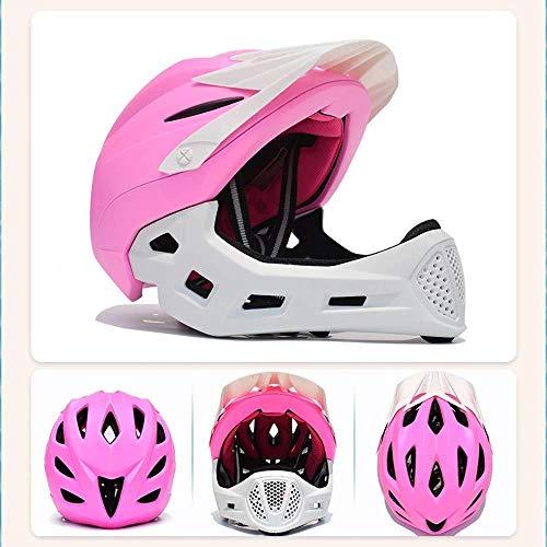 BFZJ helmet Casco Moto da Strada Moto Full Face, Casco Bimbo Staccabile per Bambini Casco Guardia con Vent Air diversione 13 Casco da Equitazione Casco per Bambini Sbiancato 13 Vents 46-53cm