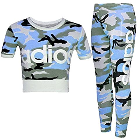 Girls Kids Adios Camouflage Print Army Crop Top & Bottoms Leggings Tracksuit Suit Age 2-13 Years (11-12 Years,