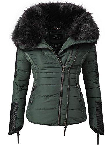 Navahoo Damen Jacke Winterjacke Steppjacke Yuki2 (vegan hergestellt) Dunkelgrün Gr. L