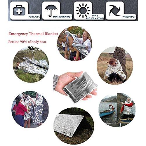 Outdoor Survival Kit 11 in 1, Emergency Survival Gear Tool mit Messer, Kompass, Notfall Decke, Feuer Starter, Taschenlampe, Whistle, Tactical Pen etc für Camping, Wandern, Klettern, Ausflüge - 5