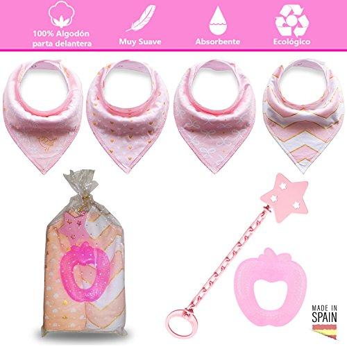 Baby Lätzchen Bandana Baumwolle Weiche und Super-absorbierende für Mädchen + 1Kühlbeißring + 1Brosche besondere Schnuller–Zahnungshilfe-Set mit Packaging ganz besonderen und fertig als Geschenk (Langarm Zeichnung)