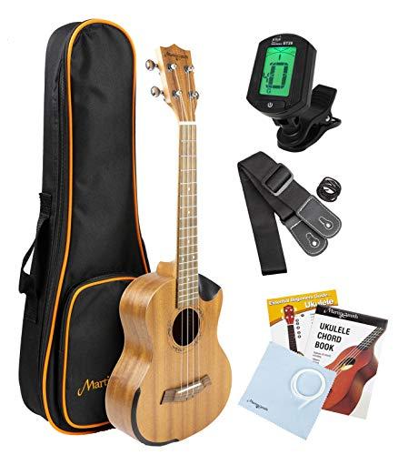 Martin Smith ukulele tenore starter kit con Aqulia Strings-include lezioni online, tuner, borsa, tracolla e corde di ricambio.