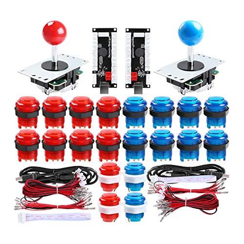 Reyann 2 Player LED Arcade Game DIY Kit 2x No Delay LED Encoder + 2x  Joystick + 20x LED Illuminated Push Buttons for PC MAME PS3 & Raspberry Pi